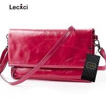 Lecxci luxus Damen Echtes Leder Cross Body Messenger Tasche Hülle Handtasche Kupplung Geldbörse mit Kartensteckplätze, Handytasche für Frauen