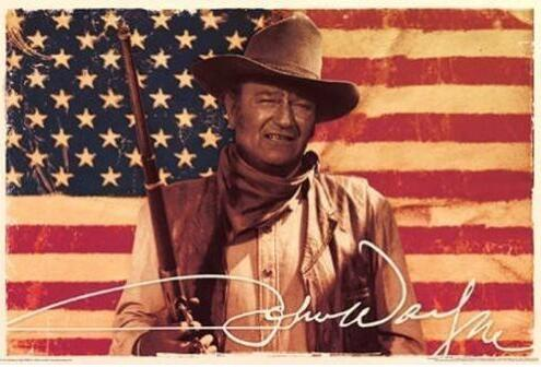 JOHN WAYNE - AMERICAN FLAG COWBOY MOVIE SILK POSTER Decorative painting 24x36inch image