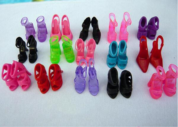 12Pair/lot Fashion Sandals Little Toy Assorted Shoes For  Doll Accessories Original High-heel Shoes For  Dolls