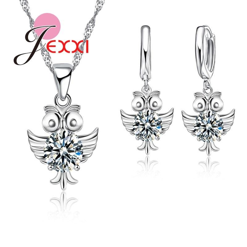100% QualitäT Neue Ankunft Frauen Mädchen Beste Geschenke 925 Sterling Silber Kette Eule Anhänger Halsketten Piercing Ohrringe Schmuck Sets