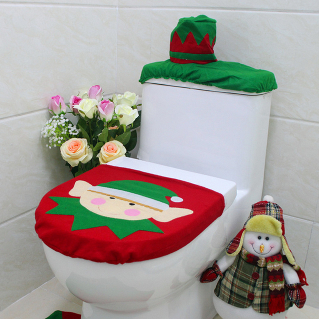 New 1 Set/3pc Fancy Happy Santa Toilet Seat Cover Rug Bathroom Set  Decoration Rug