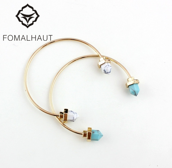 FOMALHAUT Fashion Simple Alloy Gemini greenstone Copper circle inlaid bracelets & bangles for women XX-72
