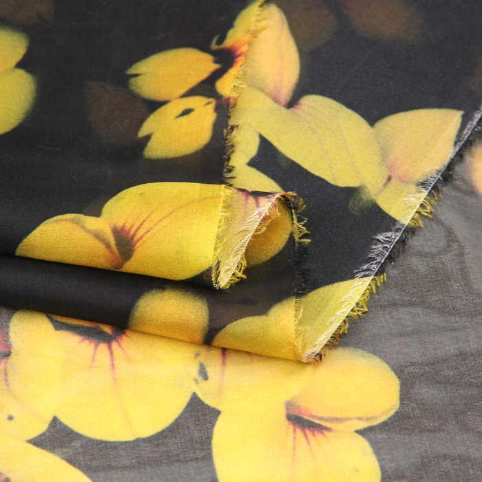 135 см, ширина 8 мм, желтое платье с цветочным рисунком печати Тонкий черный Шелковый шифон ткань для лето и короткое платье блузка рубашка D742