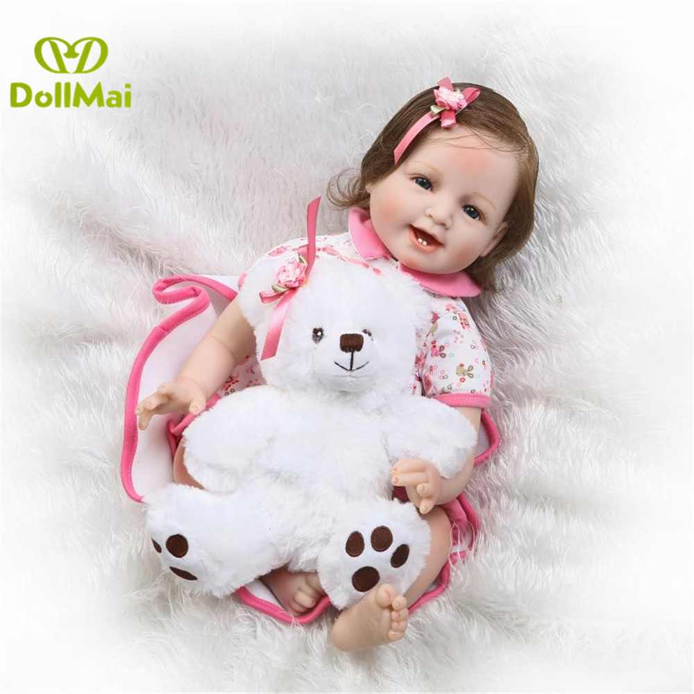 Bebes reborn real baby dolls 2255cm silicone reborn baby dolls toys for child birthday gift with white bear newborn baby dollBebes reborn real baby dolls 2255cm silicone reborn baby dolls toys for child birthday gift with white bear newborn baby doll