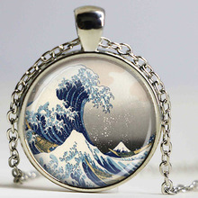 new great ware off kanagawa pendant necklace great wave gift best friends fashion jewelry