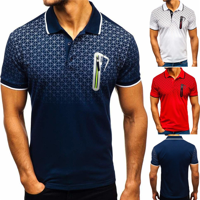 New Fashion Short Sleeve Turn Over Collar Slim Tops Mens Lapel   Polo   Shirt Gradient Printed Pocket Design   Polo   Shirt