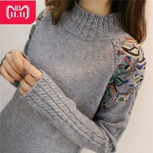 2018 Korean Fashion Women Sweaters and Pullovers Sueter Mujer Ruffled Sleeve Turtleneck Solid loose Sexy Elastic Women Tops