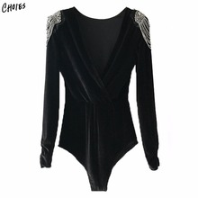 Solid Black Beaded Embellished Long Sleeve Velvet Bodysuit Women Back Skinny