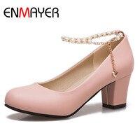ENMAYER Round Toe High Heels Pumps Shoes Woman Plus Size 34 43 White Shoes Womens Plus Size 34 43 Buckle Strap Pumps
