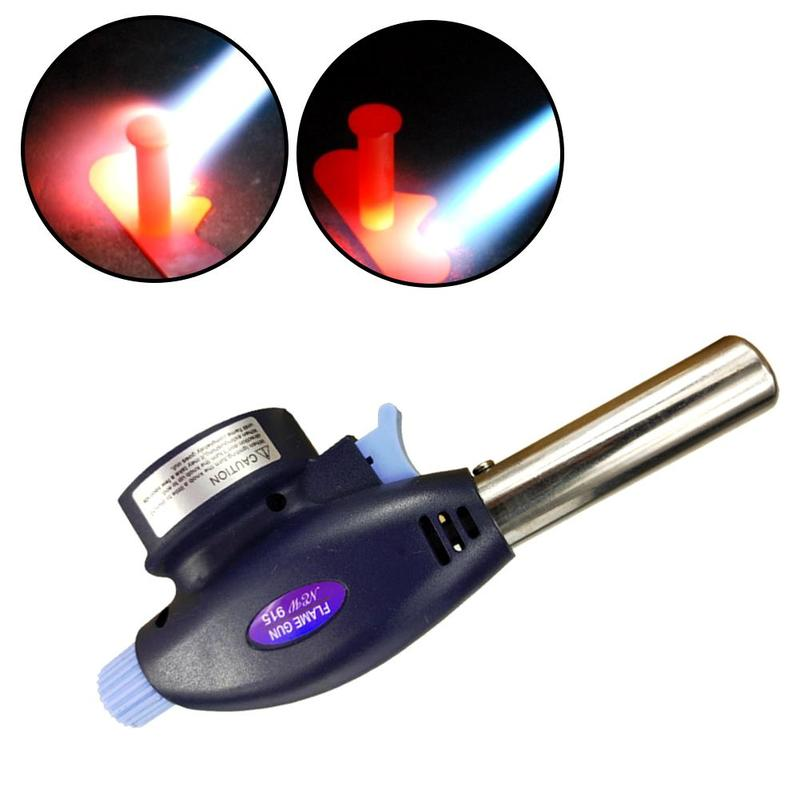 New Gas Torch Flamethrower Butane Burner Automatic Ignition Baking Welding BBQ Camping Outdoor Hiking Fire Flame Gun