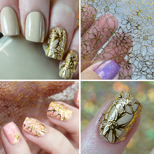 DIY Fingernail Design Nail Stickers Gold Flower Professional Gel Nails Painting Sticker Manicure Nail Makeup Tools