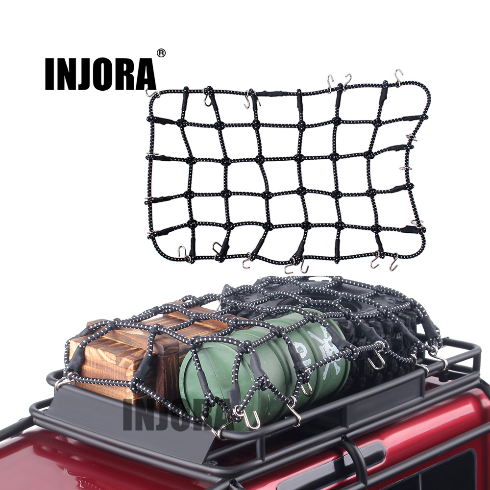 INJORA 1PCS Black Red Elastic Luggage Net For 1:10 RC Rock Crawler Traxxas TRX-4 D90 AXIAL SCX10 RC Car Accessories