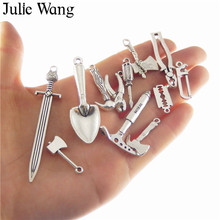 Julie Wang 12pcs Antique Silver Miexd Tool Mini Pliers Ax Saw Shovel Hammer Charm Necklace Pendants DIY Jewelry Making Accessory недорго, оригинальная цена