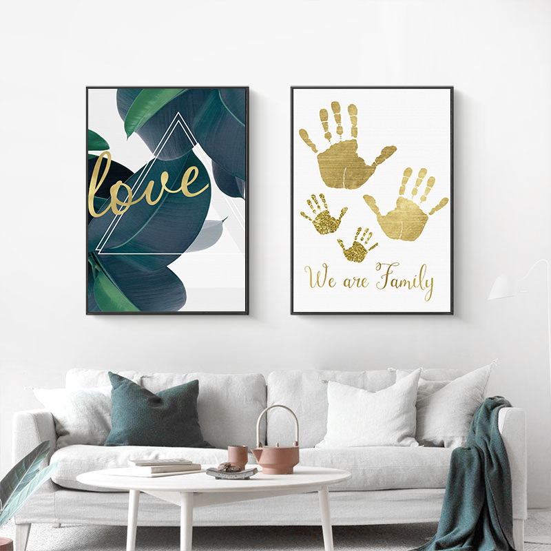 Nordic Abstract Canvas Painting Modern Prints Plant Leaf Art Golden palm Posters Prints Green Art Wall Pictures Living Room in Painting Calligraphy from Home Garden