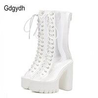 Gdgydh New 2018 Fashion White PVC Women Boots Mid Calf Thick Square Heels Platform Shoes Peep
