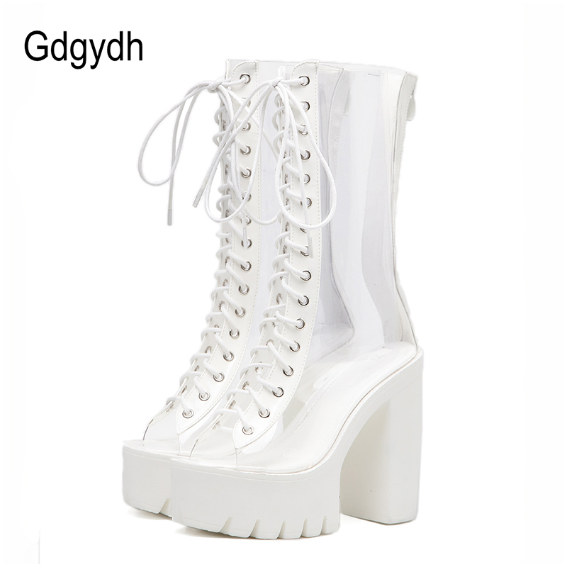 Gdgydh New 2018 Fashion White PVC Women Boots Mid Calf Thick Square Heels Platform Shoes Peep Toe High Women Summer Shoes 2018 new vintage mid calf women boots square thick high heels pointed toe martin boots genuine leather winter shoes for women