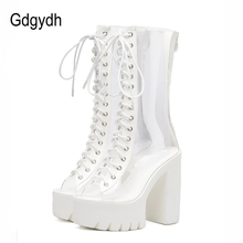 Gdgydh New 2018 Fashion White Women Boots Mid Calf Thick Square Heels Platform Shoes Peep Toe High Women Summer Shoes PVC