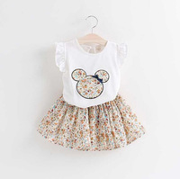 Free shipping 2016 new style cartoon fashion children girl princess dress suit kids girl summer casual clothes set