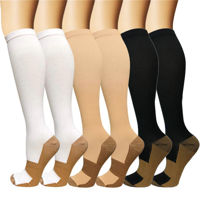Brothock Copper Fiber Long Tube Knee High Compression Socks Nylon Pressure Outdoor Sports Socks Medical Compression Stockings