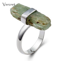 Vercret Natural Stone Rough Gemstone Women Ring For Wedding Bands 925 Sterling Silver Stone Rings Female