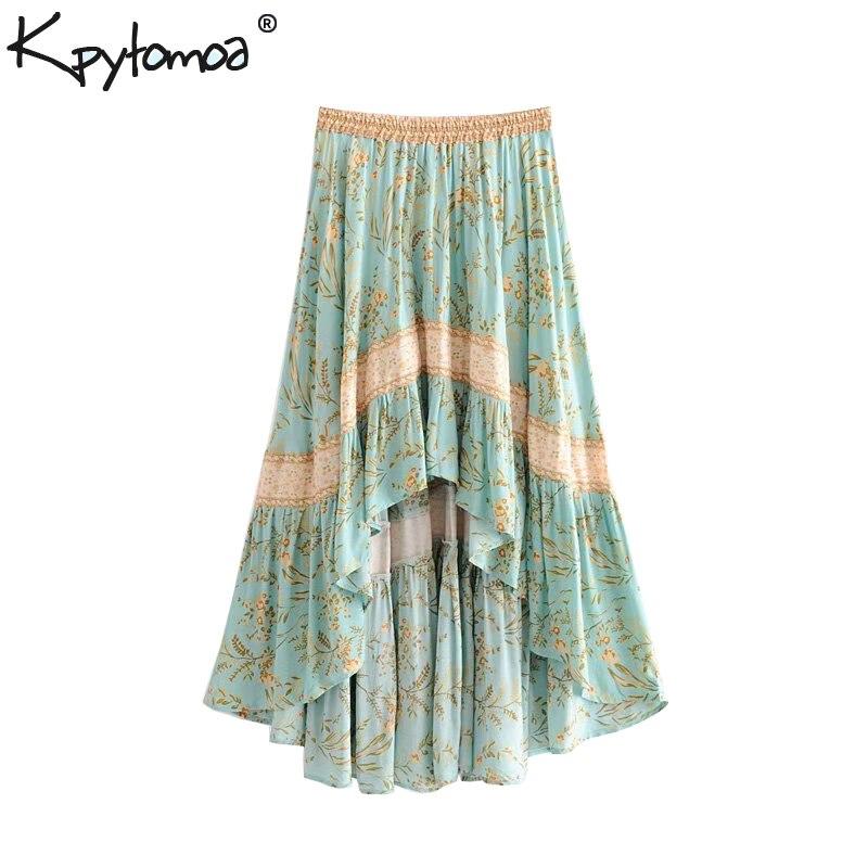 Boho Chic Summer Vintage Floral Print Pleated Asymmetrical Skirt Women 2019 Fashion Elastic Waist Beach Long Skirts Faldas Mujer