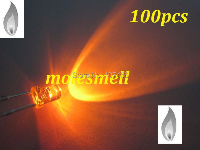 free shipping 100pcs 3mm Orange Candle Light Flicker Ultra Bright Flickering orange LED Leds 3mm water clear candle led