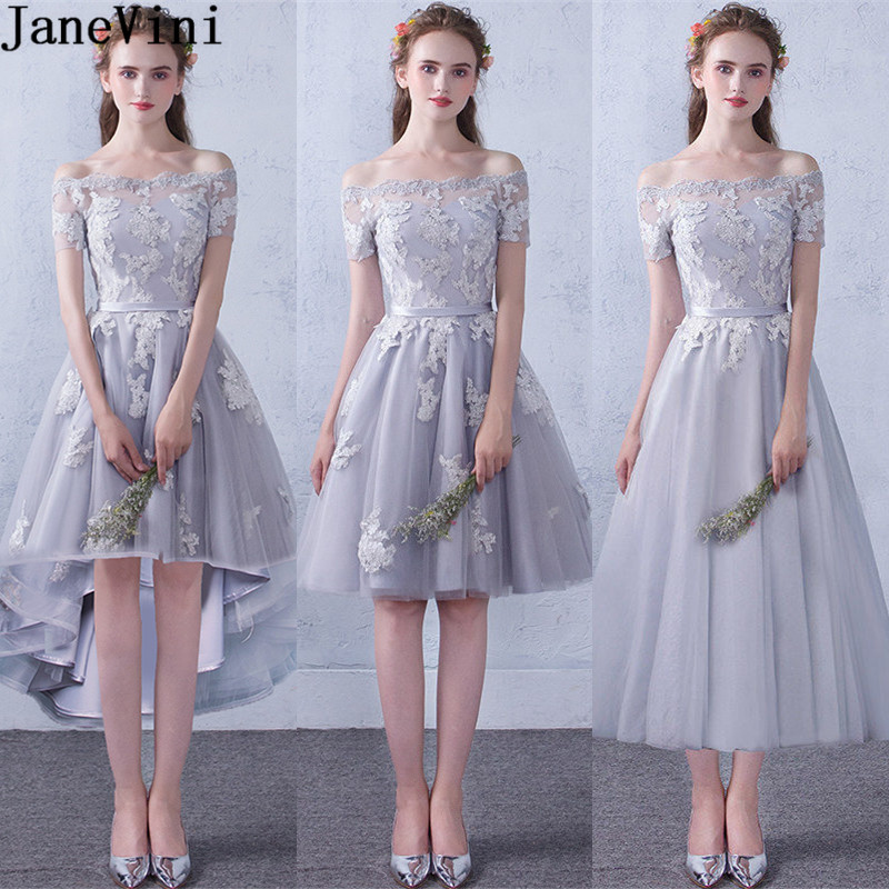 JaneVini 3 Styles Gray Short Front Long Back Bridesmaid Dresses Lace Appliques Prom Dress For Wedding Party Tulle Formal Gowns