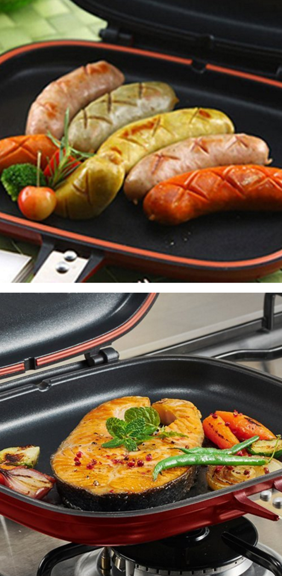 28cm Stainless Steel Double Sided Grill Pan