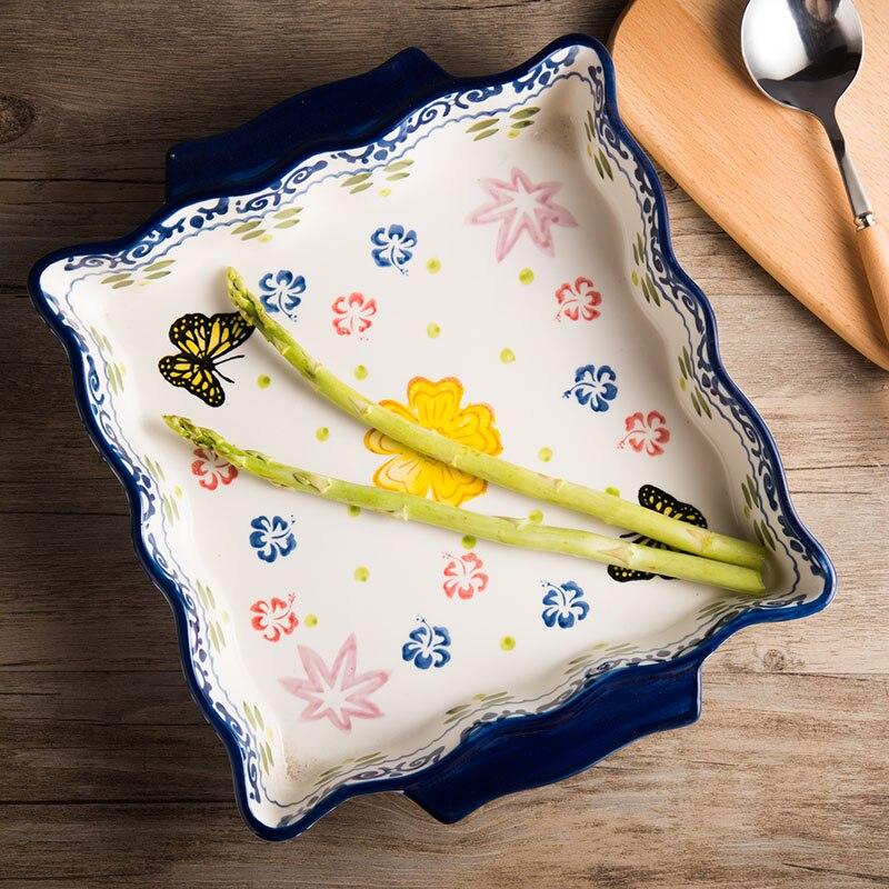 Seiko peint à la main Binaural céramique riz cuit plat de cuisson carré plaque À Pizza plaque Haute température four moule de cuisson distributeur plat