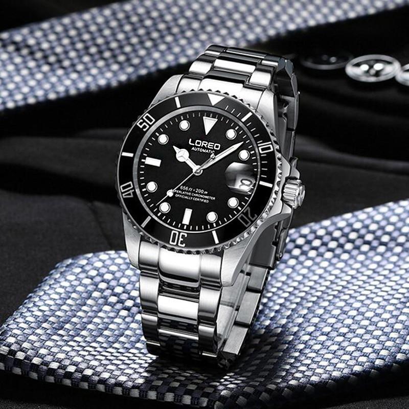 LOREO мужские деловые автоматические механические часы, мужские наручные часы, наручные часы из нержавеющей стали, мужские часы для дайвинга, ... - 2