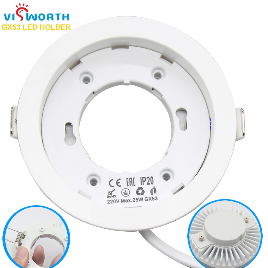 VisWorth Circular GX53 Lamp Bases High Quality ABS Material GX53 LED Holder For Cabinet Lamp With 9 CM Cable Length