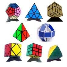 8 pcs / Set Shengshou Hitam Aneh-bentuk Magic Cube Set Kecepatan Putar Puzzle Bundle Pack Cube PVC & Matte Stiker Cubo Sihir Puzzle