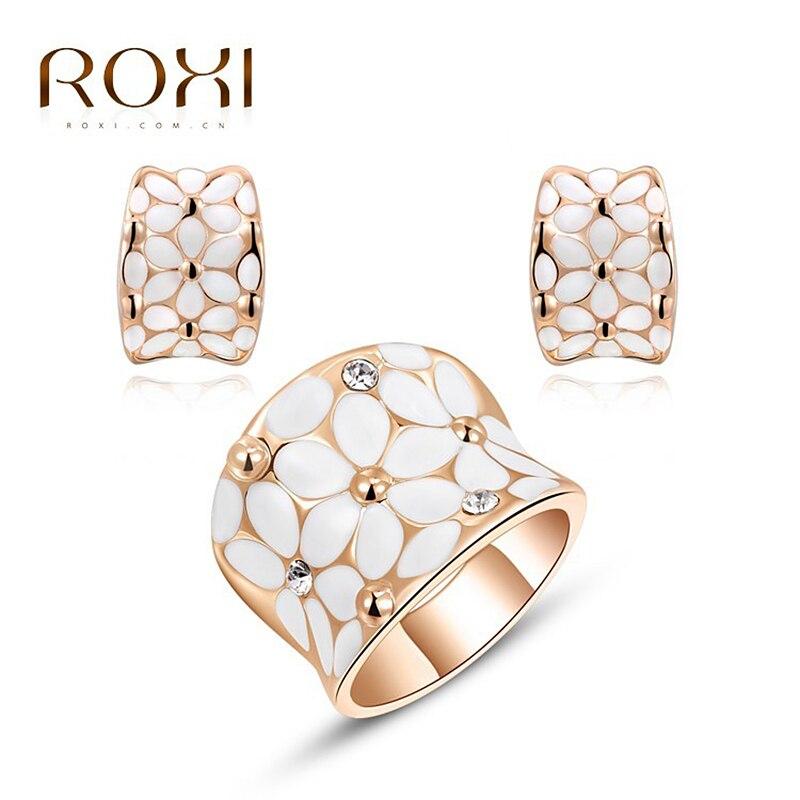 ROXI Women Rings Crystal Engagement Flower Rose Gold for Women Aneis