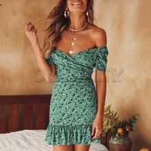 купить Cuerly Sexy off shoulder floral print short chiffon dress women Summer elegant party ruffle dress Beach casual mini dress  L5 по цене 1888.15 рублей