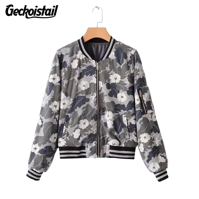 Geckoistail Women Camouflage Bomber Jackets Coats 2018 New Spring Fashion Casual Jackets Outerwear Baseball Clothing One Size