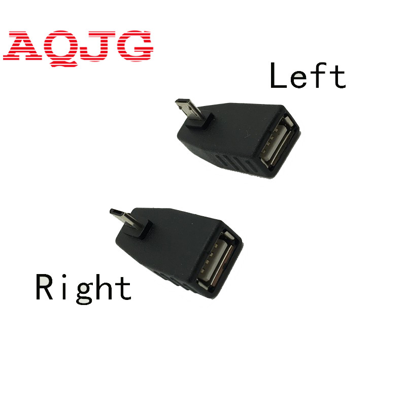 1pcs micro usb Male to usb Female  USB OTG Right Left degree Adapter Converter New Black Right + 90 degree wholesale usb 2.0 hightek hu 03 universal usb to rs485 422 converter adapter