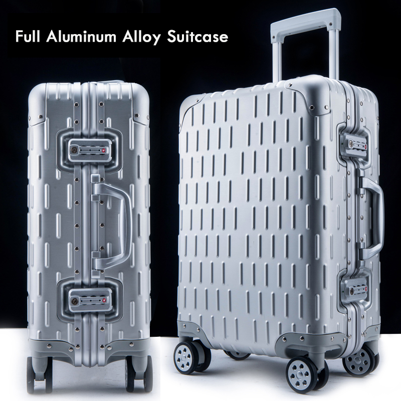 20 24 28'' Matte 100% Aluminum Luggage Suitcase Travel Traveling Trolley Rolling Spinner Hardside Carry On Luggage Suitcase y road travel trolley luggage suitcase 100