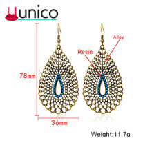Unico 2018 Baru Vintage Hollow Resin Anting-Anting untuk Wanita Mewah Perhiasan Klasik Air Drop Anting-Anting(China)