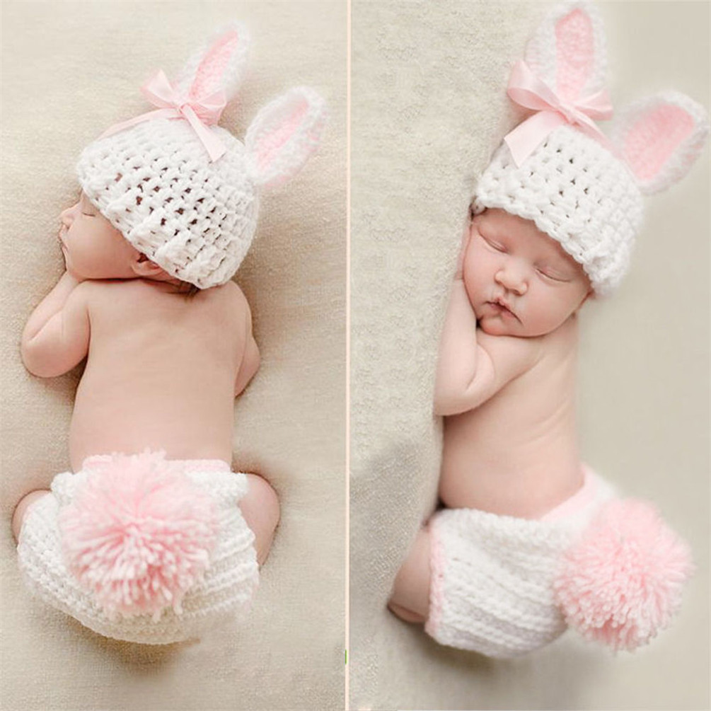 2pcs Newborn Baby Girl Boy Knit Crochet Clothes Set Photo Costume Photography Prop Hot 0 12m newborn baby photography prop photo handmade crochet cap romper knit costume photography baby flower headwear girls outfit