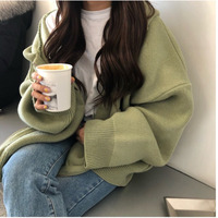 Women Sweater Hooded Zippers Loose Big Size Cardigan Thick Clothes Women Jacket Pull Femme Hiver Cardigan Women Winter Clothes