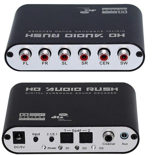 5.1 CH аудио декодер SPDIF Коаксиальный rca DTS AC3 цифровой 5.1 Усилитель Аналоговый Converte с адаптером питания и оптического кабеля