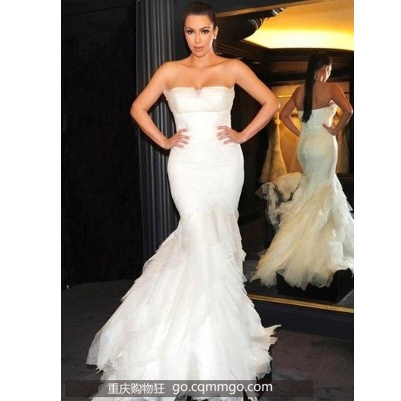 Online Shop Custom Made Kim Kardashian Mermaid Wedding Dress