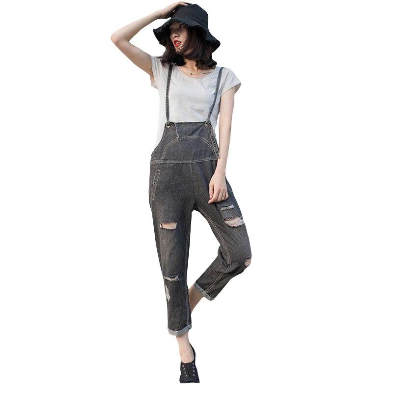Корейский стиль Джинсовые комбинезоны 2017 Женская Мода Комбинезоны для девочек Для женщин рваные джинсовые штаны ремень Элегантный дизайн ...