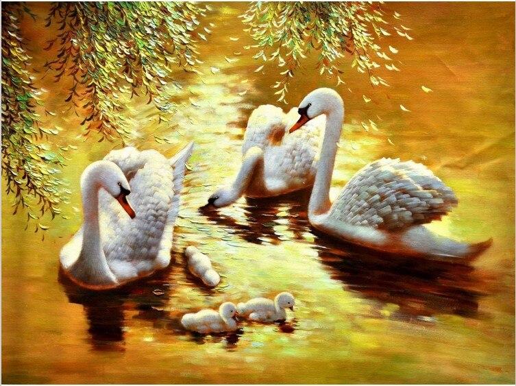 New Diy 3d Diamond Painting Family Swan Canvas Oil Handicraft