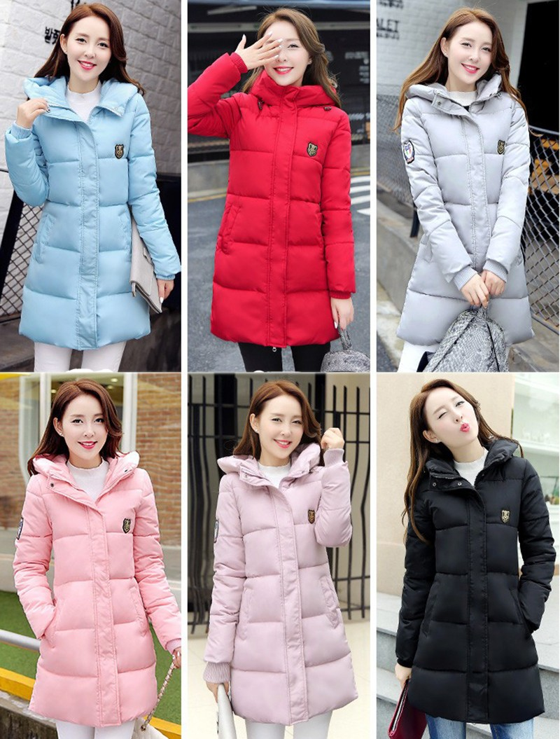 Winter Jacket Women Slim Female Coat Thicken Parka Down Cotton Clothing Red Clothing Hooded Student (2)