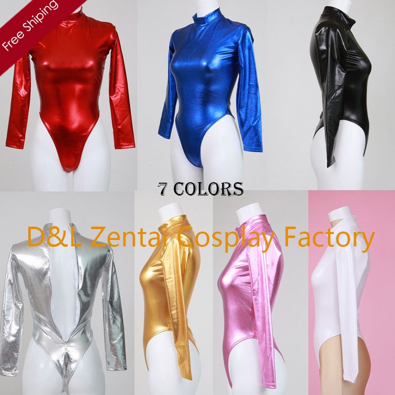 free shipping dhl adult sexy costume one piece tights fashion shiny metallic zentai catsuits woman leotard - Collants Colors