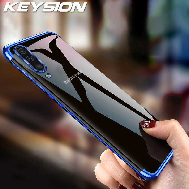KEYSION Plating Case for Samsung Galaxy A50 A30 A20 A10 A40 A70 A80 A90 Luxury Clear Transparent TPU Cover for A6 A7 A8 A9 2018