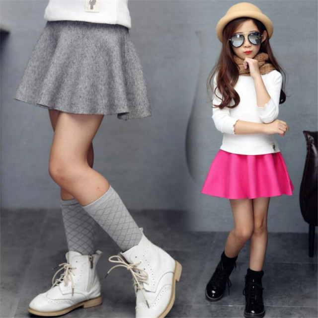 cbe10c87ab Kids Pleated Skirts For Girls Clothing Children High Waist Tutu Skirts  Girls School Clothes Spring Autumn Winter Sweater Skirts