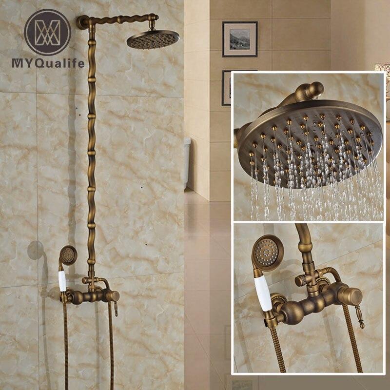 Artistic Bathroom Brass Antique Shower Mixer Taps Single Handle 8 Rain Shower Head Shower Faucet Set with Handshower