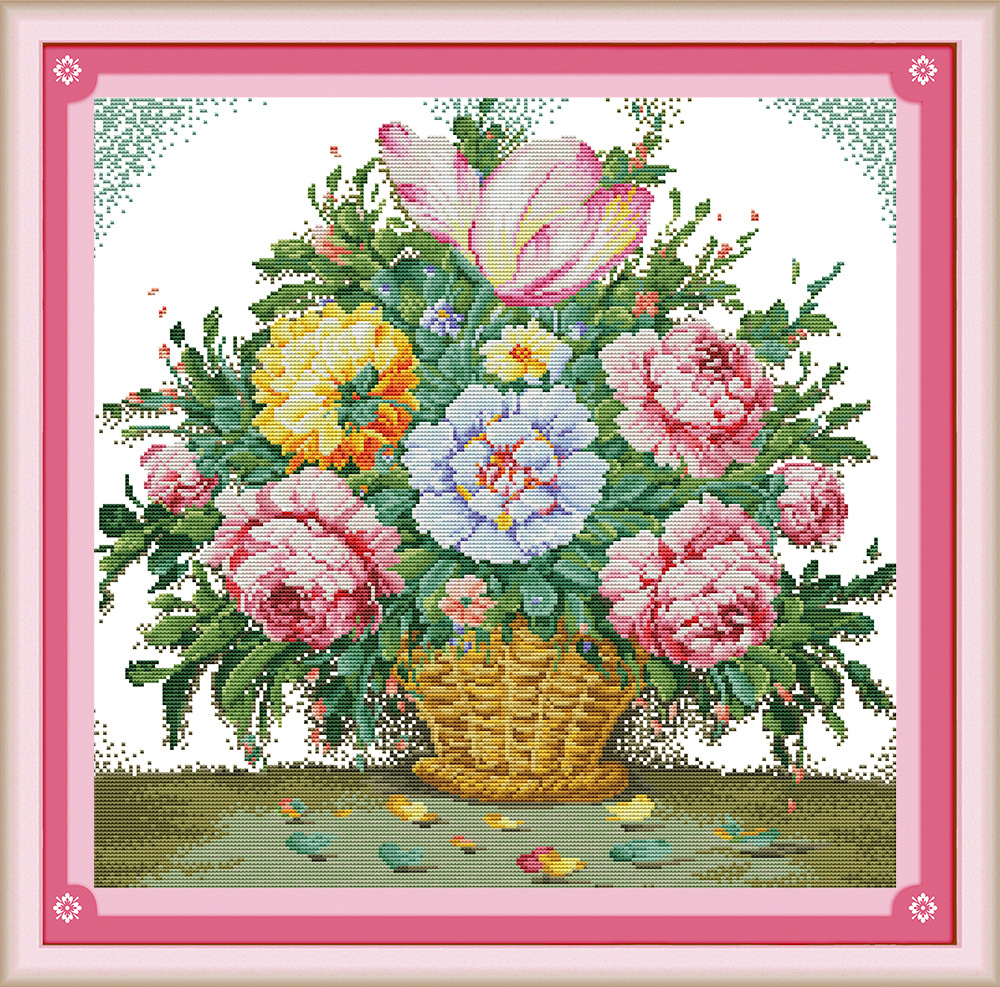 9dcfe5bdde2 Preciosa flor (2) DMC contados chino Cross Stitch Kits impreso Cruz-puntada  set bordado costura